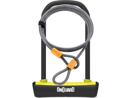 zámek ONGUARD podkova 115x230x11 mm žlutá + lanko 1200x10 mm