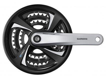 kliky SHIMANO TX FC-TX801-S 175mm 48x38x28 zubů, stříbrné s krytem