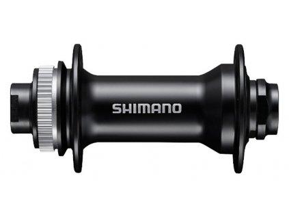 náboj disc Shimano HB-MT400 32děr Center Lock 15mm e-thru-axle 100mm přední černý v krabičce