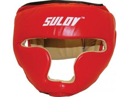 Chránič hlavy uzavřený SULOV, kožený, červený