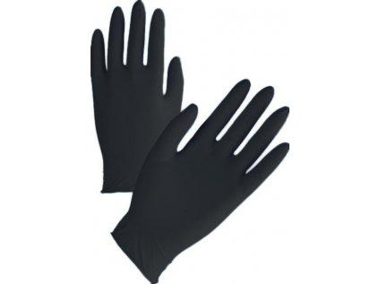 servisní nitrilové rukavice černé nepudrované  balení 100ks