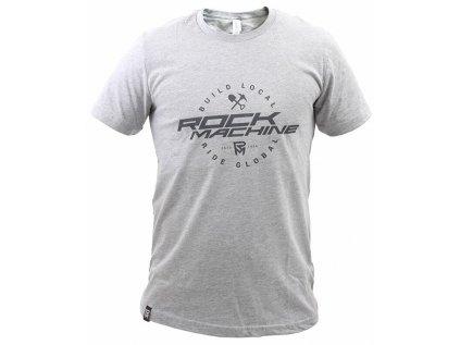 tričko ROCK MACHINE unisex šedé vel. XL logo BUILD LOCAL