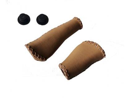 Gripy Velo VL-649 (levý=130mm, pravý=90mm) hnědé