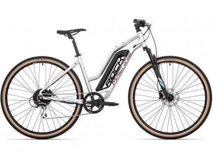 elektrokolo Rock Machine CrossRide e350 lady 2020 gloss silver/dark crimson/neon cyan (500Wh) (L)