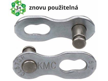 spojka řetezu KMC 6/7/8 speed EPT povrch, šedý, baleno po 5 kusech, cena za balení