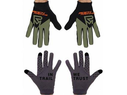 dlouhoprsté rukavice ROCK MACHINE Race khaki/oranžovo/černé