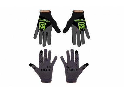 dlouhoprsté rukavice ROCK MACHINE Race černo/zelené