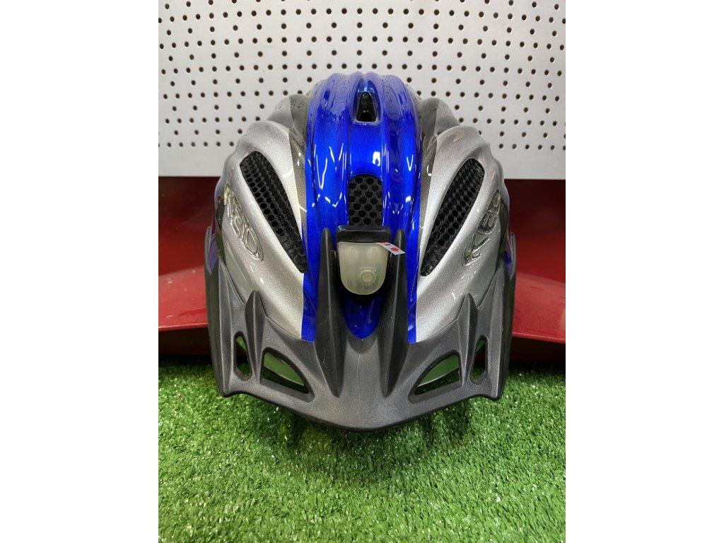 KED helma SWINGO M modro:stříbrná s blikačkou 1