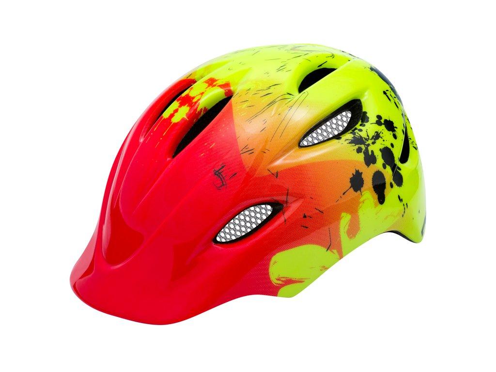 R2 helma DUCKY červená:neon žlutá
