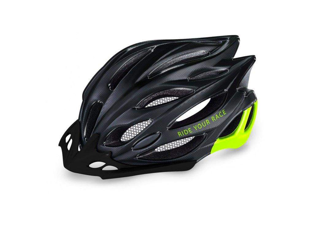 R2 helma WIND L (58 61cm) černá carbon:neon žlutá lesklá 1