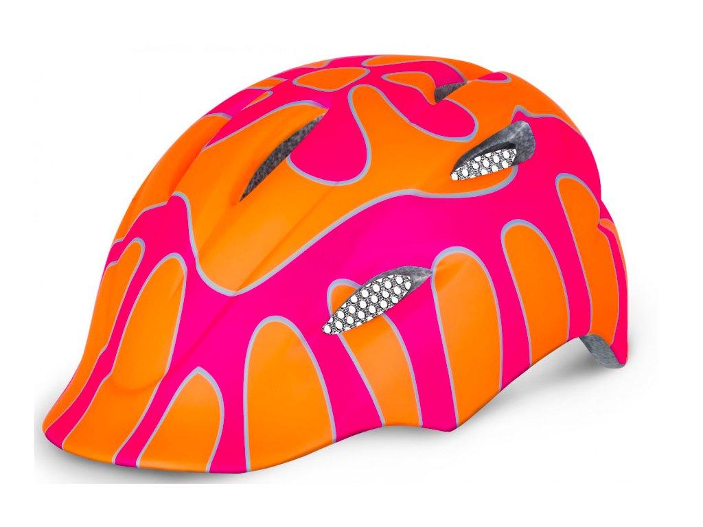 R2 helma DUCKY oranžová:růžová lesklá