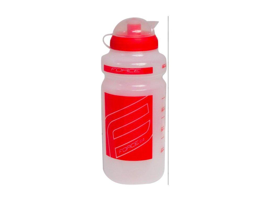 FORCE láhev 0,5 l čirá, červený potisk