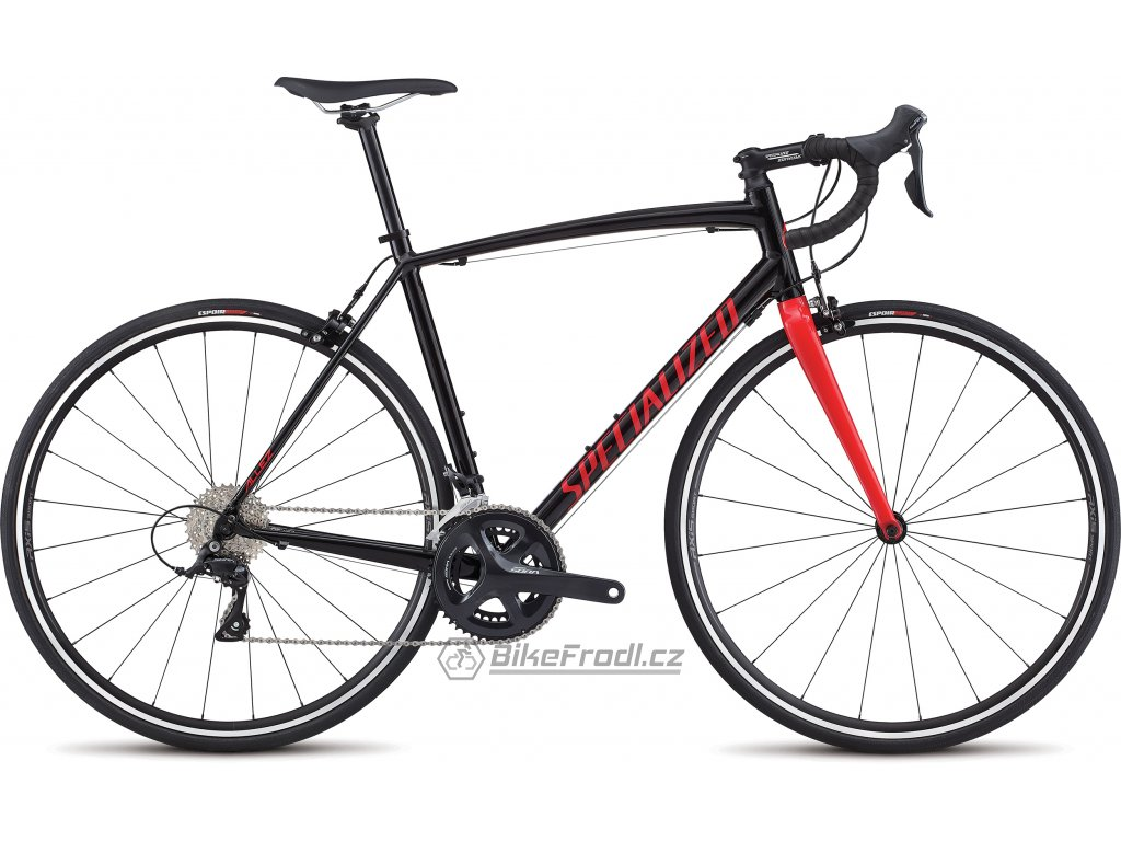 SPECIALIZED Allez E5 Sport Gloss Tarmac Black/Flo Red/White, vel. 54 cm