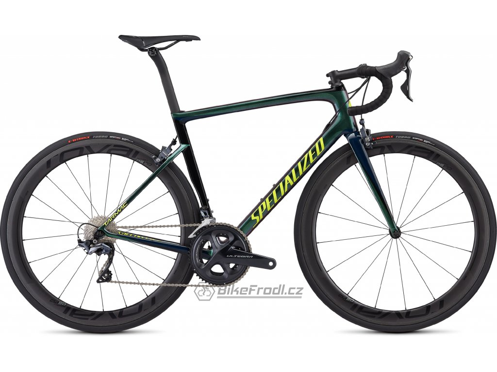 SPECIALIZED Men's Tarmac Expert Gloss Chameleon Green/Cast Blue/Tarmac Black/Team Yellow, vel. 56 cm