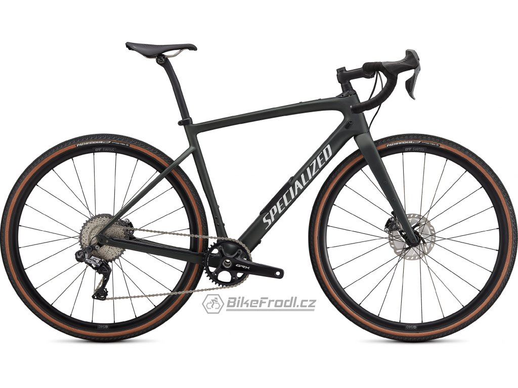 SPECIALIZED Diverge Expert Carbon, Satin Oak Green Metallic/Gloss White/Chrome/Clean, vel. 56 cm