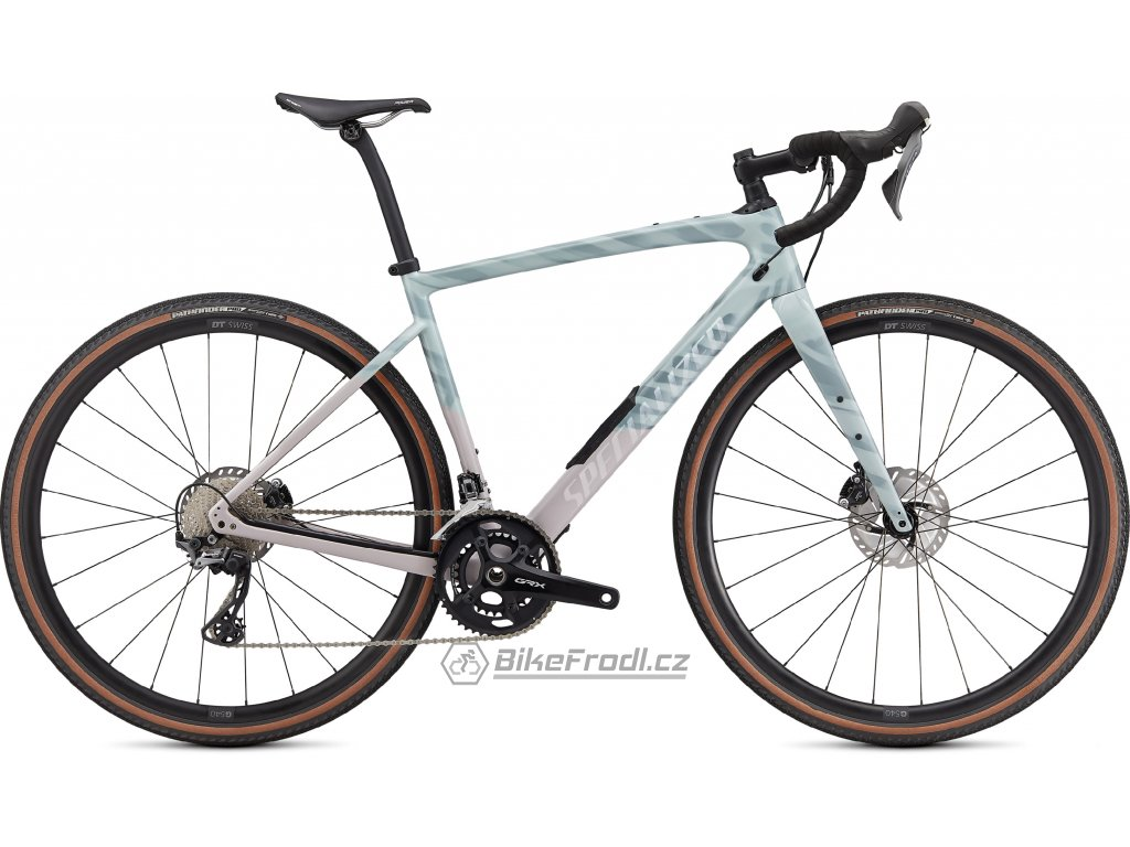 SPECIALIZED Diverge Comp Carbon, Gloss Ice Blue/Clay/Cast Umber/Chrome/Wild Ferns, vel. 56 cm