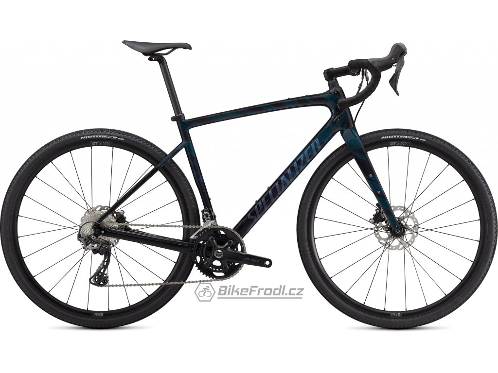 SPECIALIZED Diverge Sport Carbon, Gloss Forest Green/Ice Papaya/Chrome/Wild Ferns, vel. 52 cm