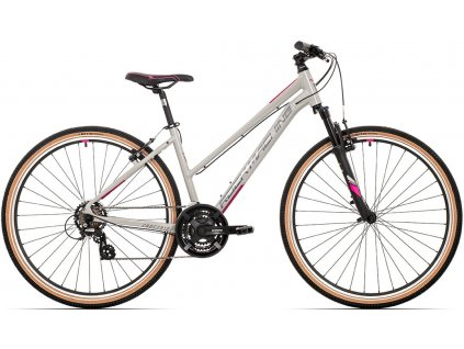 ROCK MACHINE CrossRide 100 lady gloss light grey/dark grey/New pink, vel. L  PŘEDOBJEDNÁVKA