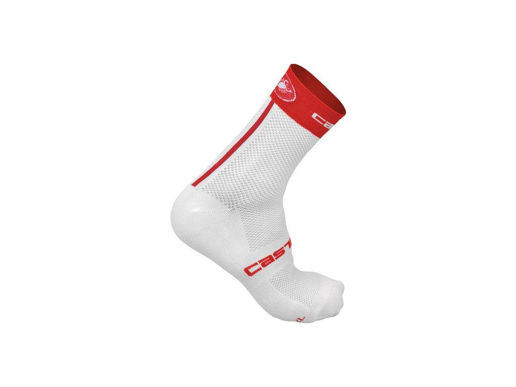 CASTELLI FREE 9 PONOŽKY (Barva bílá/červená, Velikost S-M)