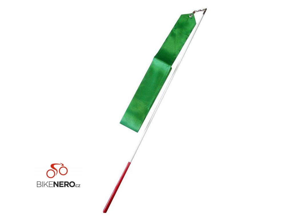 Gymnastická stuha + tyčka - tm.zelená
