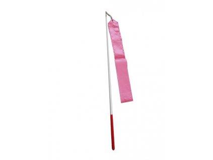 Gymnastická stuha + tyčka - tm.růžová