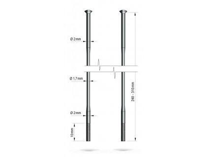 drát nerez Remerx redukovaný 2-1,7-2 x 293 mm přímý černý