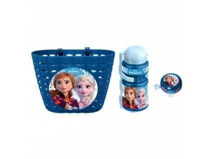 Cyklistická sada Frozen II (košík, láhev, zvonek) - modrá