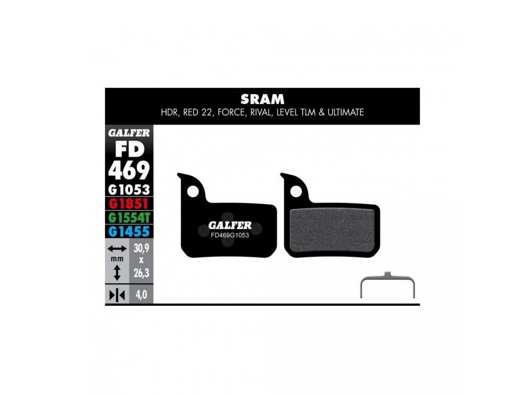 Brzdové destičky silniční Galfer SRAM : HDR, RED 22, FORCE, RIVAL