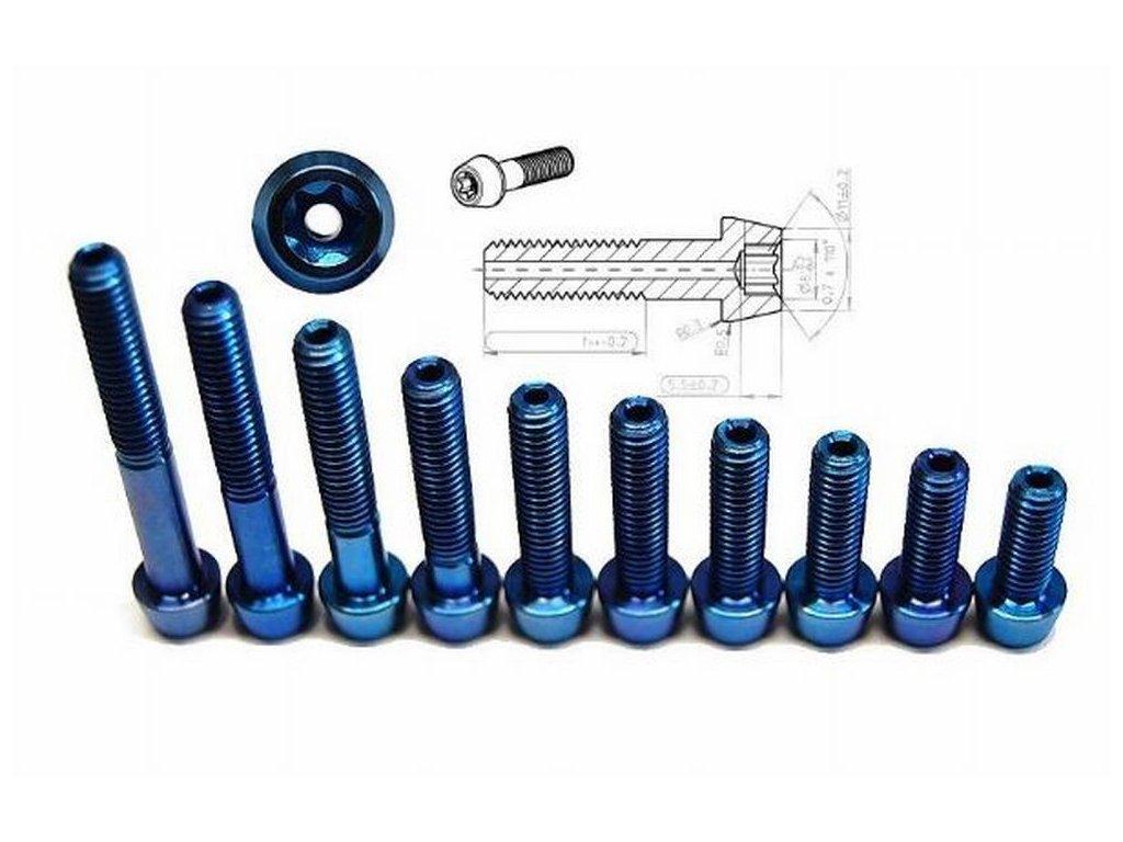 Titanový šroub M6x20, modrý - odvrtaný
