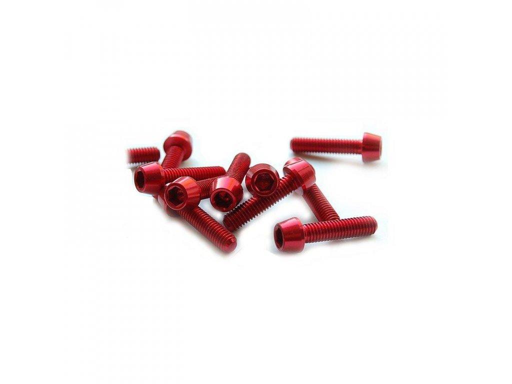 Šroub M4x20mm, červený