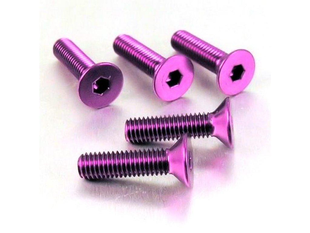 Šroub se zapuštěnou hlavou M6 x 35mm, fialový