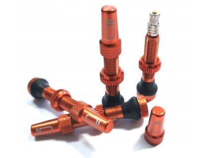 Sada bezdušových ventilků DUKE 34mm, pár, Oranžová, 10g