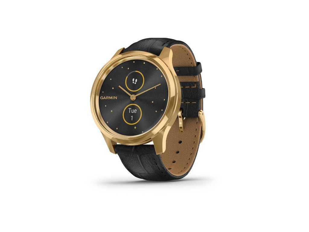 vivomove® Luxe, 24K Gold PVD Stainless Steel Case with Black Embossed Italian Leather Band