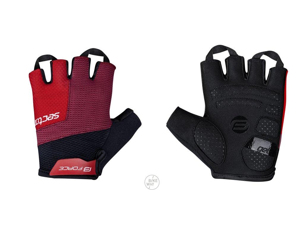 Cyklistické rukavice FORCE SECTOR gel černo-červené