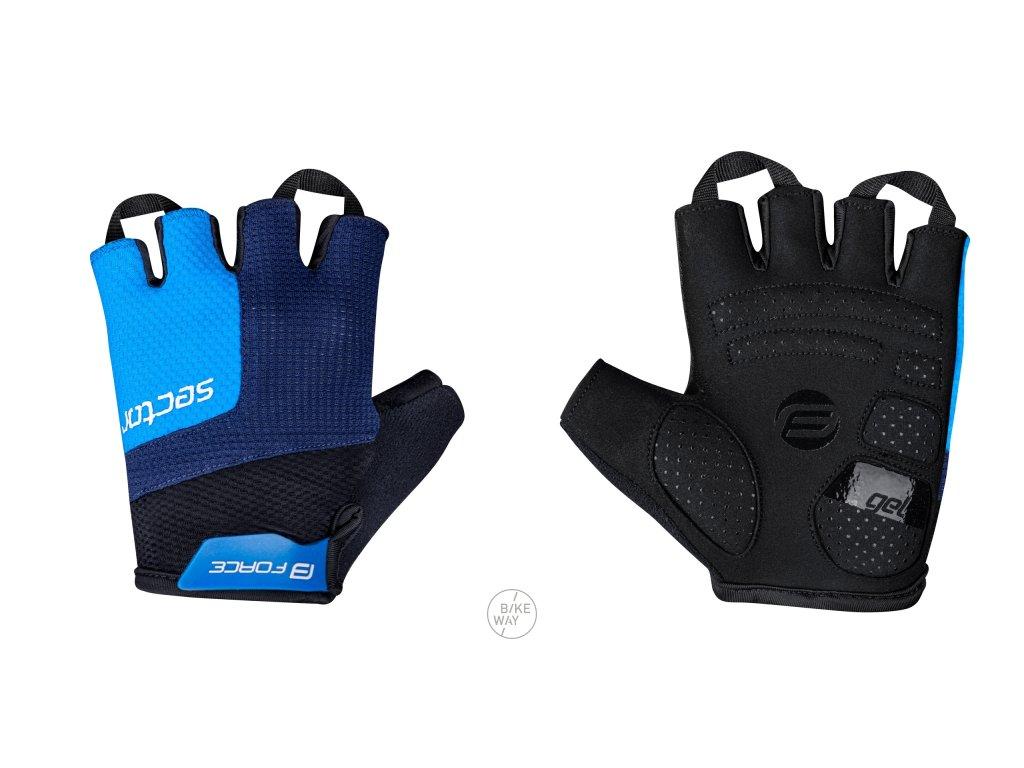 Cyklistické rukavice FORCE SECTOR gel černo-modré