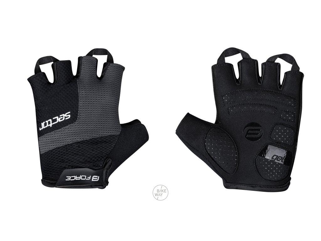 Cyklistické rukavice FORCE SECTOR gel černo-šedé