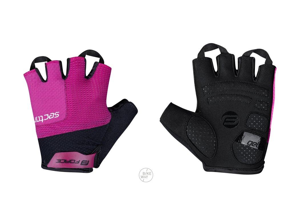 Dámské cyklistické rukavice FORCE SECTOR LADY gel černo-růžové