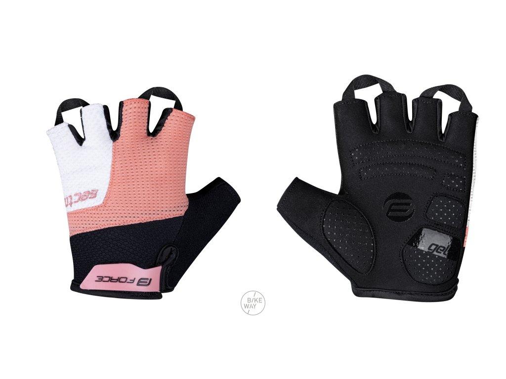 Dámské cyklistické rukavice FORCE SECTOR LADY gel černo-meruňkové