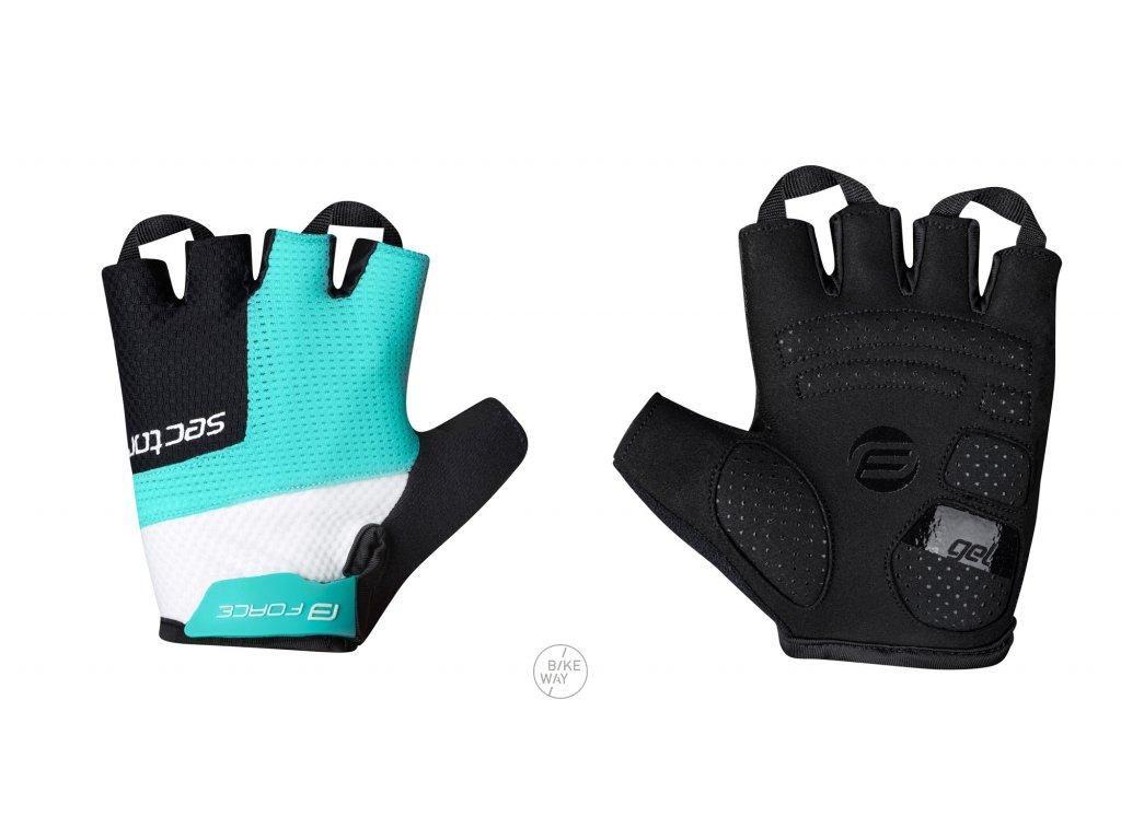 Dámské cyklistické rukavice FORCE SECTOR LADY gel černo-tyrkysové