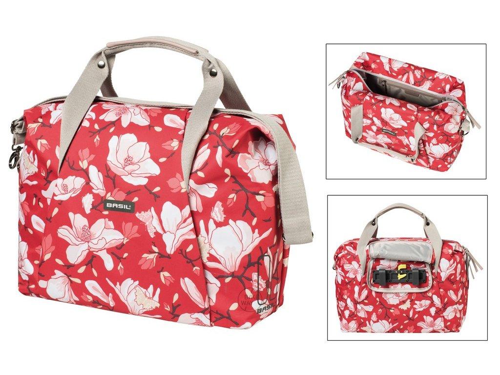 Boční brašna na zadní nosič na kolo Basil Magnolia CarryBag poppy red ze zipem 18 l