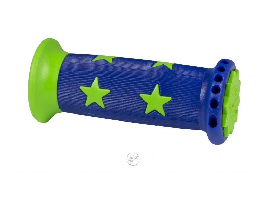 Dětská gumová madla na řídítka FORCE STAR modro zelená