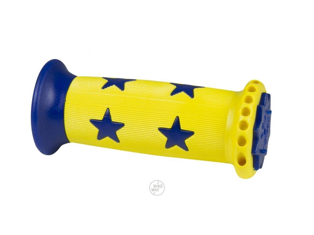 Dětská gumová madla na řídítka FORCE STAR žluto modrá