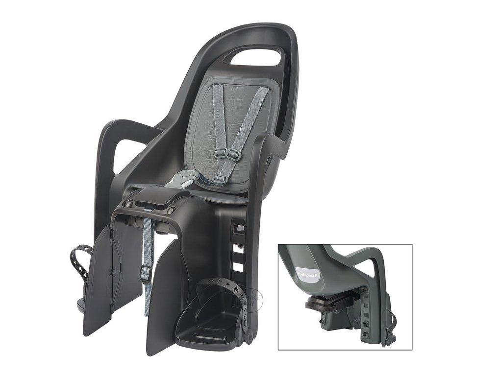 Dětská cyklo sedačka na zadní nosič Polisport Groovy Maxi CFS tm. šedá stříbrná