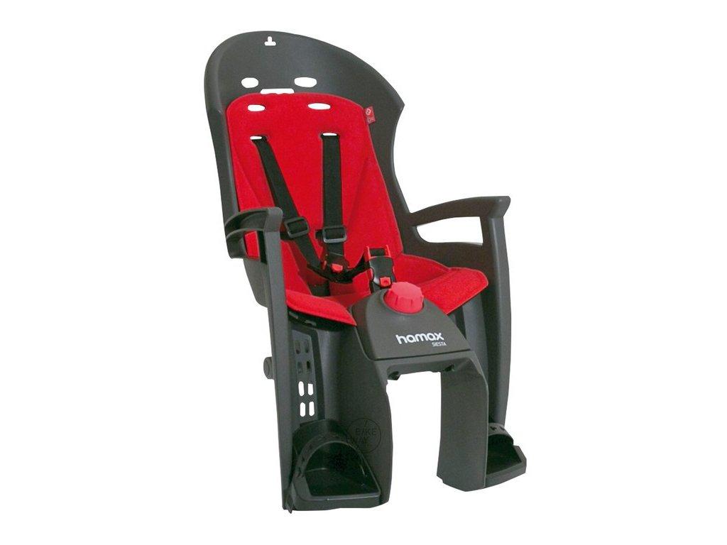 Dětská cyklo sedačka na zadní nosič Hamax Siesta šedá červená