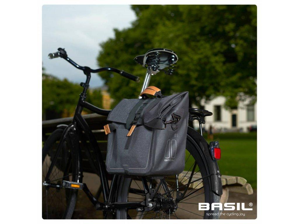 Boční brašna na zadní nosič Basil Business Urban Dry charcoal melee 20 l