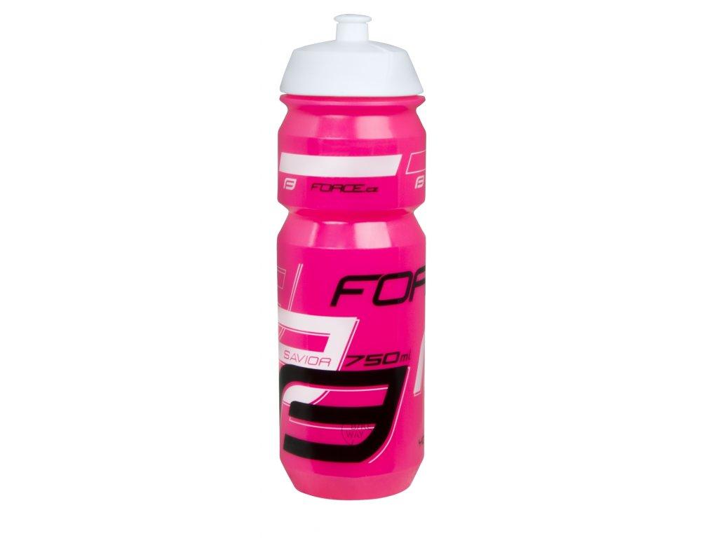 Cyklistická láhev FORCE SAVIOR růžovo bílo černá 0,75 l