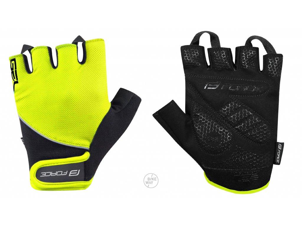 Letní cyklistické rukavice FORCE GEL fluo černé