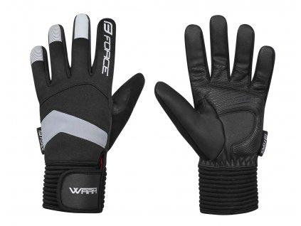 Cyklo rukavice zimní FORCE WARM černé