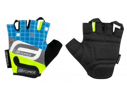 Dětské cyklistické rukavice FORCE SQUARE fluo modré