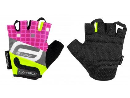 Dětské cyklistické rukavice FORCE SQUARE dětské fluo růžové